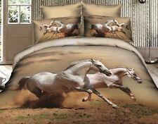New 600TC Cotton Queen Bed Quilt/Doona Cover 3 Pieces Horses  Set. AQ186