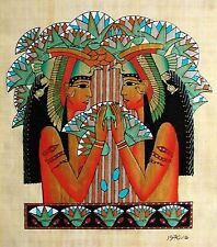 Egyptian Hand-Painted Papyrus Signed Art: Cleopatra and her Reflection IMPORTED