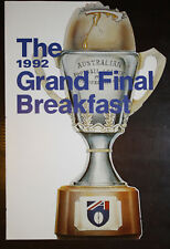 1992 North Melbourne Football Club Grand Final Breakfast Menu Eagles v Geelong r