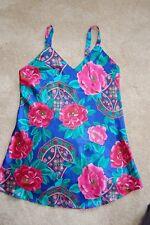 KATHRYN Satin Shortie Night Gown Dk Blue w/ Gorgeous Dk Pink Floral Pattern Sz M