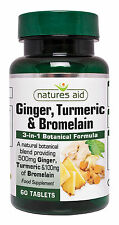 Ginger, Turmeric and Bromelain: Botanical formula x 60 tabs - Natures Aid