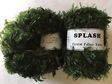 "LOT of 2 Crystal Palace Splash #3387 ""Chard"" Green Feather Boa Eyelash Yarn"