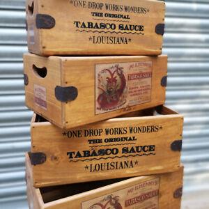 Devil Tabasco Vintage Box Wooden Crate Shop Display Gift Hamper Condiment Holder
