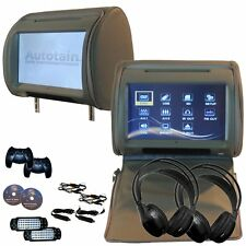 Autotain Dream 9 inch Digital Touch Screen Headrest DVD Player Monitor Grey Gray