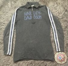 Harley Davidson Gray 1/4 Zip Embroidered Fair Isle Sweater Cotton Sz M