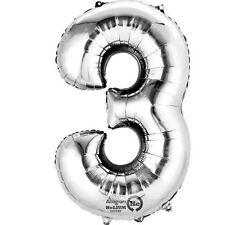 """Numero 3 Silver Foil Balloon 16"""" 40cm Aria Riempire Nome Età Compleanno Anniversario"""