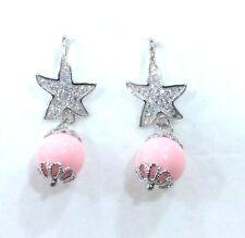 Orecchini pendenti in argento 925 con pietra dura rosa 1 cm e stella zirconata