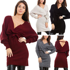 Vestito donna miniabito maglione tricot scollo V lacci maniche kimono VB-3261