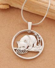 """Sterling Silver Panda Bear Pendant, Chinese Panda Bear Jewelry, 5/8"""", ( # 64S )"""
