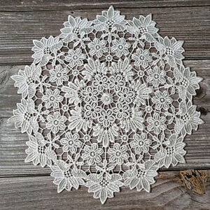 Party Home Decoration Lace Placemats Cafe Holiday Cup Pad White Embroidery R
