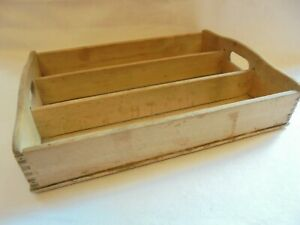 VINTAGE RUSTIC WOODEN STRIPPED WOOD 3 COMPARTMENT CUTLERY TRAY STORAGE