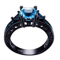Princess Cut Square Black Gold Aquamarine Band Ring Wedding Men Women Size 5-11
