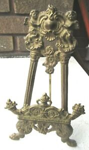 """Vtg. Ornate Solid Brass Easel ~ANGELS~ Picture / Photo / Plate Stand 8.5"""""""