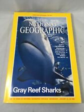 National Geographic January 1985 Single Issue Gray Reef Sharks & Nile Map