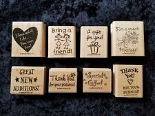 Stampin Up Wood Mounted Rubber Stamps Home Party Business Lot of 8 New