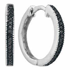 10k White Gold Round Black Color Enhanced Diamond Hoop Fashion Earrings 1/10