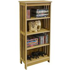 Wood  4 Shelf 132 CD / 48 DVD Blu-ray Media Storage Shelves - Light MS2083