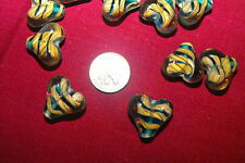 18 Pieces TURQUOISE & TAN Heart-shaped LAMPWORK BEADS