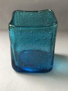 Blue Art Glass Small Cuboid Vase Pot Handblown Bubbles Polished Pontil at Base