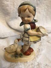 Nippon Figurine Girl Duck Spilled Milk Antique