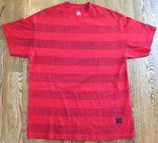 RARE Red BLACK INK SPLOTCH STRIPES Print XL Skate T-Shirt from MANIK SKATEBOARDS