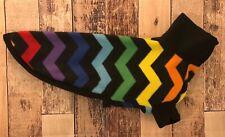 "20"" Whippet Fleece Sweater - Rainbow Chevron Black S Sighthound Pjs Pajamas Coat"