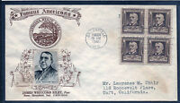 US: Scarce Group of Seven [7] 10c Famous American Blocks on Crosby Cacheted FDCs