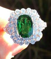 18K GOLD 5.30CT GIA CERTIFIED LARGE GREEN TSAVORITE GARNET TOP GEM DIAMOND RING