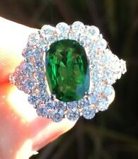18K GOLD 5.90 CT. GIA CERTIFIED LARGE  AAA+ TSAVORITE GARNET & DIAMOND RING!!!