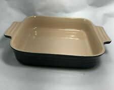 "Le Creuset 9"" Square Black Baking Dish Stoneware Excellent Almost Unused"