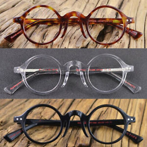 Hand Made Vintage Small Round 40mm Eyeglass Frames Acetate Full Rim Rx able