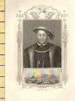 C1860 Vittoriano Stampa ~ Henry VIII ~ Inserto Giostra