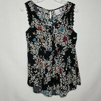 LC Lauren Conrad Sleeveless Blouse Floral Gathered Waist Lace Trim Size S L327P