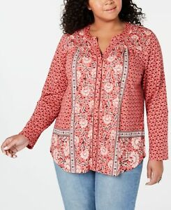 STYLE & COMPANY Womens Red Printed Long Sleeve V Neck Blouse