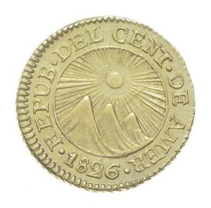 1826 1/2 Escudo - Central American Republic - Guatemala Gold Coin *097