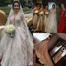 Embroidery Lace Beaded Ball Bridal Gowns Luxury Cathedral Train Wedding Dresses