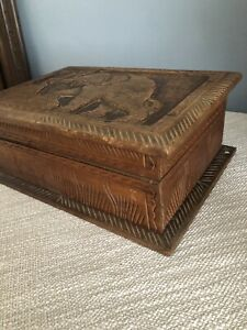 Vintage Style Solid Wood Trinket Box Storage Carved With Elephant
