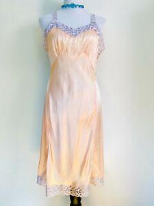 Vintage 1940s Miss Swank Rayon Slip Dress Peach Openwork Lace Bust 38 Bias Cut