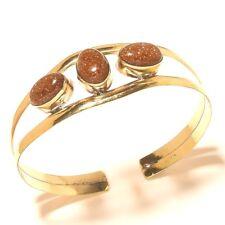 Sunstone Bangel Cuff Bracelet Tibetan Silver Brass Gemstone Jewelry