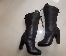 NWB DESIGNER Belstaff New Agnes Laced BLACK LEATHER MID CALF HEELED BOOTS  4