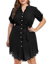 Plus Size Womens Party Evening Asymmetric Short Mini Shirt Dress Ladies Cocktail