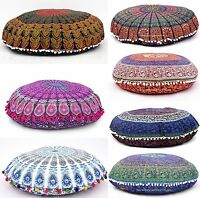 "32"" INDIAN MANDALA ROUND TAPESTRY FLOOR CUSHION PILLOW POUF COVER Bohemian Throw"