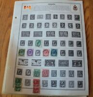 M05 Lot of Canada Stamps on 12 Pages from H.E. Harris & Co Album binder