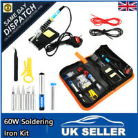 UK 60W Soldering Iron Kit Electronics Welding Irons Solder Tools Adjustable Temp