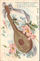 CPA fantaisie - Mandoline et fleurs - Message de tendresse