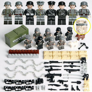 Military Mini Figures Base WW2 Sets Weapons Soldiers Toys Fits Lego Army guns