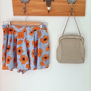 Debbie Dabbie by Angel Biba pale blue orange floral paperbag shorts party