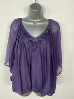 WOMENS NEXT PURPLE ANGEL SLEEVED BUTTON EMBELLISHED EVENING BLOUSE TOP  UK 12