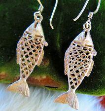Sterling Silver 925 Filigree Fish pierced Earrings    se
