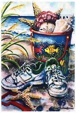 "Seashells, Sneakers ,Starfish Garden Flag12""X18"" Relax on Beach Decorative Flag"